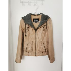 ONLY Real Leather Jacket w/Removable Hood Size S